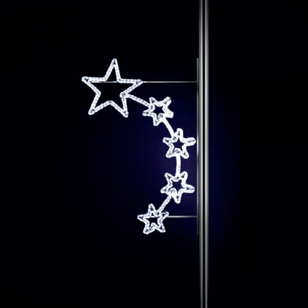 Weihnachtsstern Auriga 170, H170, B115cm, kaltweiss, Strassenlichter, Pfostenmontage