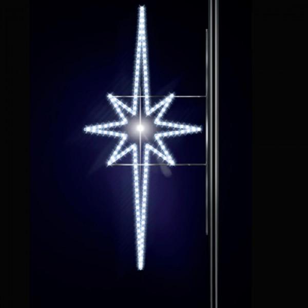 Leuchtstern Aegna 200, H200, B100cm, kaltweiss, E27 Flash-Birne, Strassenlichter, Pfostenmontage