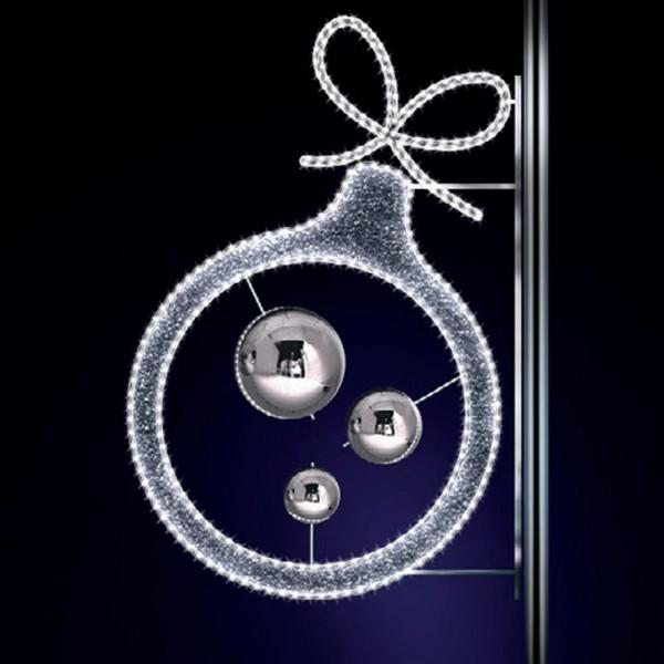 Weihnachtskugel Astor 130, H130, B85cm, kaltweiss, Kugeln silber, Kandelaberbeleuchtung