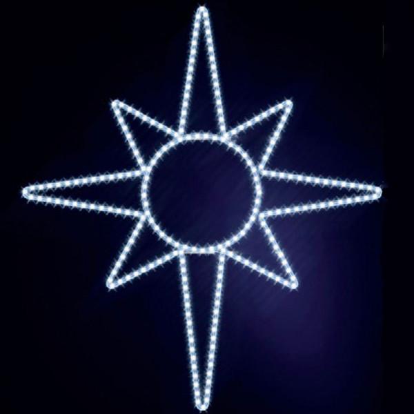 Leuchtstern North Star 130, H130, B115cm, kaltweiss, Wandmontage