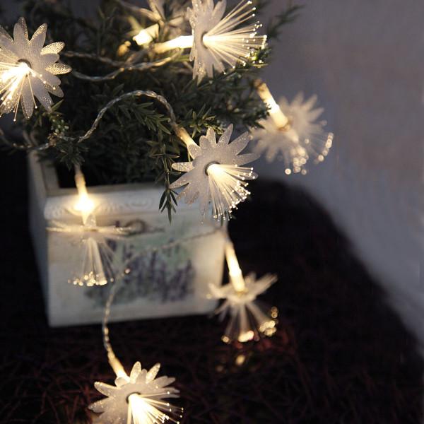 Weihnachtsbeleuchtung Mit Batteriebetrieb.Lichterkette 10 Fiberoptik Blumen Transparent Batteriebetrieb
