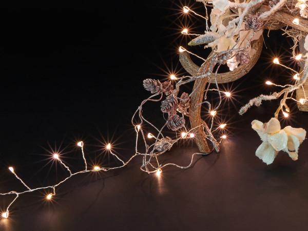 Ivy Lichterkette 900cm, silber, 400 LED warmweiss, Indoor