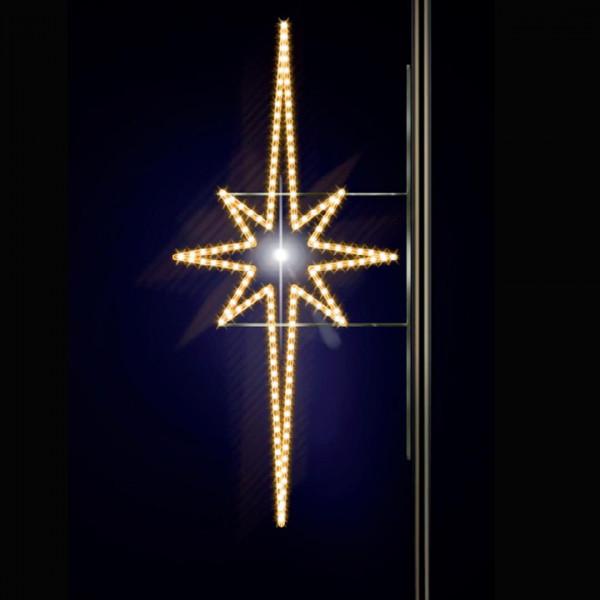 Leuchtstern Aegna 200, H200, B100cm, warmweiss, E27 Flash-Birne, Strassenlichter, Pfostenmontage