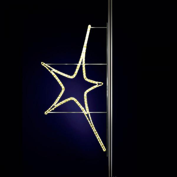 Leuchtstern Aries 100, H100, B60cm, warmweiss, Strassenlichter, Pfostenmontage