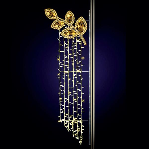 Strassenweihnachtslichter Fortuna 190, H190, B60cm, warmweiss, Glitter, Pfostenmontage