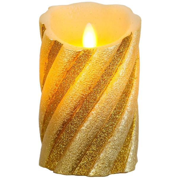 Twinkle-Star Glitzer Wachskerze, LED, Flackerlicht, Ø 8, H13 cm, gold