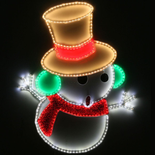 Weihnachtsbeleuchtung Silhouette.Schneemann 2 Seitig Silhouette Led Farbig Tape Light L63 H84cm