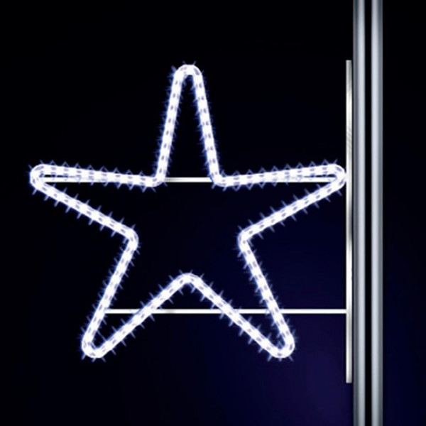 Leuchtstern Star 70, H70, B100cm, kaltweiss, Kandelaberlichter, Pfostenmontage