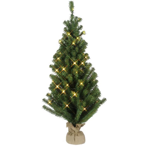 Tannenbaum im Jute-Sack, H90, Ø50cm, 50 warmweisse LED, Indoor