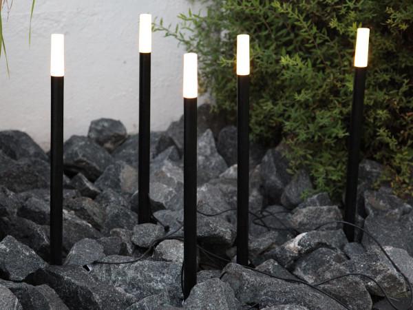 Leuchtstäbe, 5 Stäbe mit je 3 warmweissen LED-Lichtern, 54 cm, outdoor