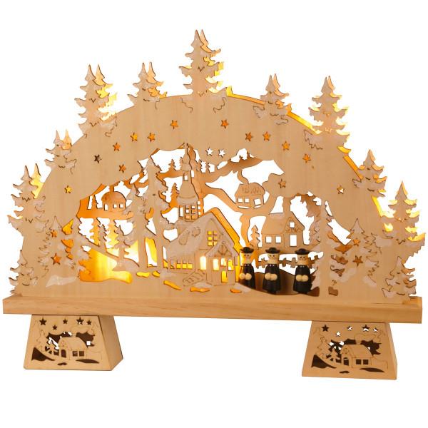 Fensterleuchter Deutsche Weihnacht Kirche Dorf 7-flammig Ausstellungsmodell