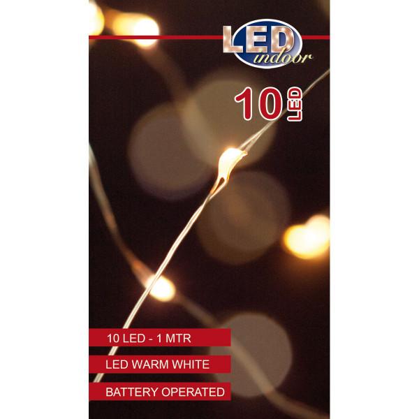 Drahtlichterkette silberfarbig, 1 Strang 100 cm, 10 LED warmweiss, Indoor