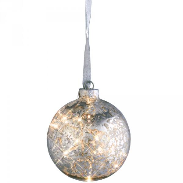 Glas-Ball Argent Ø10cm, 8 LED, Indoor, 24 Volt, 4 Watt