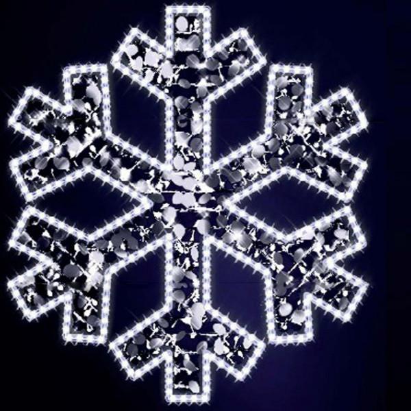 Schneeflocke Gabriel 120, H120, B110cm, kaltweiss, mit Glitter, Wandmontage