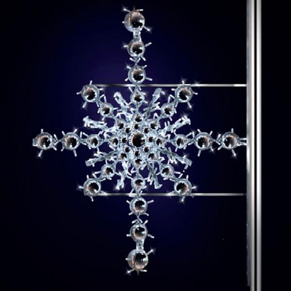 Schneeflocke Kristjan 125, H125, B120, kaltweiss, Strassenlichter, Pfostenmontage