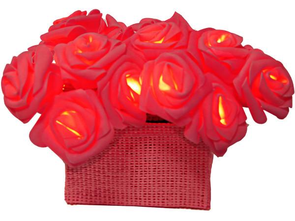 Lichterkette 15 rote LED Rosen im Körbchen, Batteriebetrieb