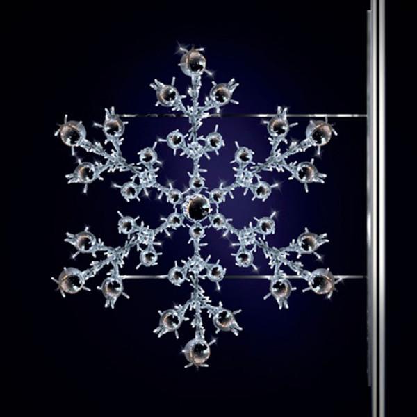 Schneeflocke Nevis 150, H150, B170cm, kaltweiss, Strassenbeleuchtung, Pfostenmontage