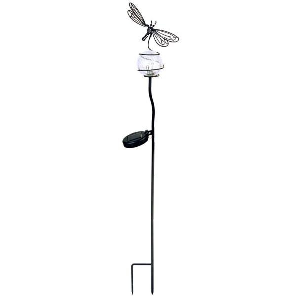 Solargartenstab Libelle mit Glaskugel, LED kaltweiss, Solarpanel, Akku