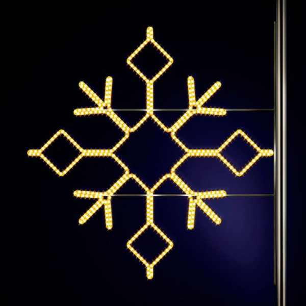 Schneeflocke Boden 180, H180, B200cm, warmweiss, Strassenlampendeko, Kandelabermontage