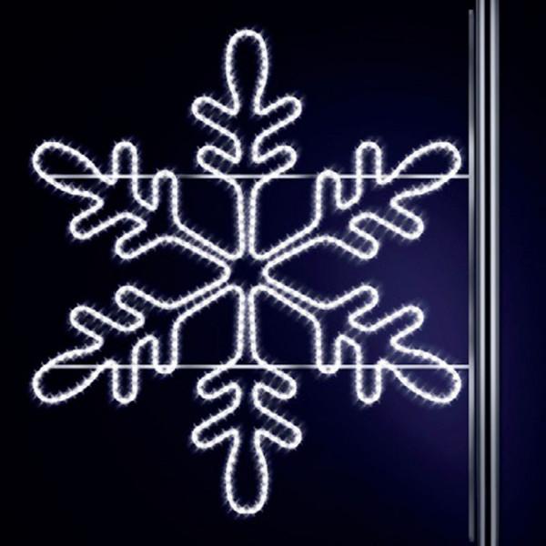 Schneeflocke Snaige 115, H120, B125cm, kaltweiss,Kandelaberbeleuchtung, Pfostenmontage