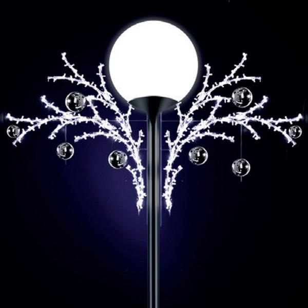 Lichtkugeln Lily 90, H90, B160, L160cm, kaltweiss, 3D, drei Elemente, Kugel silber, Pfostenmontage