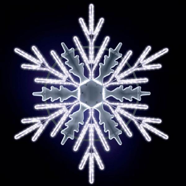 Schneeflocke Carlos 125, H125, B115cm, kaltweiss, Opalplexiglas, Kandelabermontage